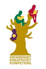 Symbol för barn- och utbildningsförvaltningen med ledorden erfarenhet, kreativitet och kompetens.